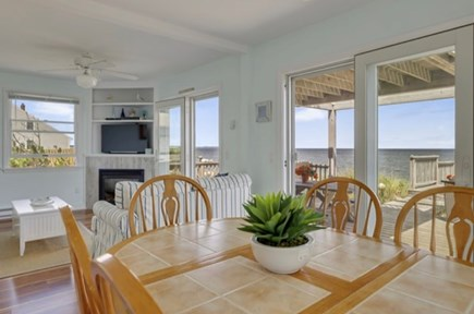 East Sandwich Cape Cod vacation rental - Kitchen table overlooking Cape Cod Bay