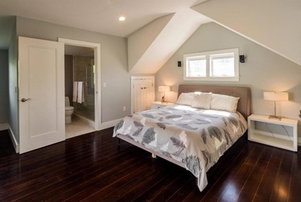 Provincetown Cape Cod vacation rental - Master king bedroom #2 with balcony, TV and hot tub outside