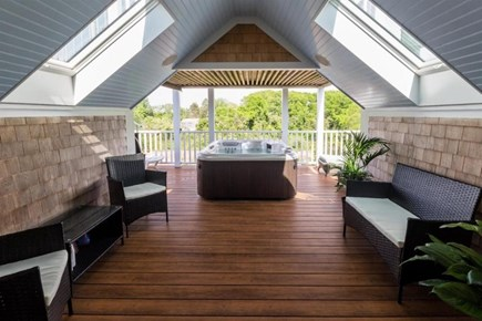 Provincetown Cape Cod vacation rental - Sitting area in master bedroom #2 looking at hot tub