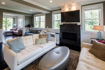 Provincetown Cape Cod vacation rental - Living area with fireplace and TV