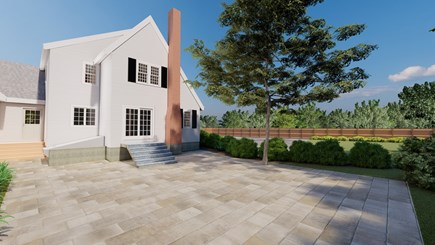 Dennis Village-Mayflower Beach Cape Cod vacation rental - Back view rendering with patio