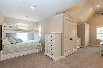 Dennis Village-Mayflower Beach Cape Cod vacation rental - Second floor bunk #2 with single over double bunk,trundle & KIng