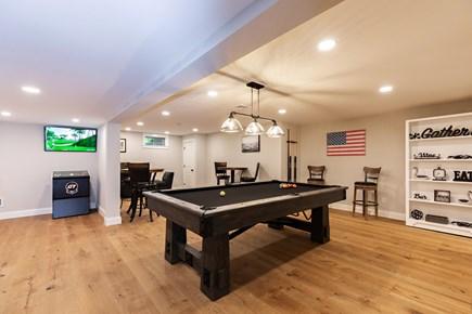 Dennis Village-Mayflower Beach Cape Cod vacation rental - Basement game room w/ pool table,darts, golf game,bar & poker