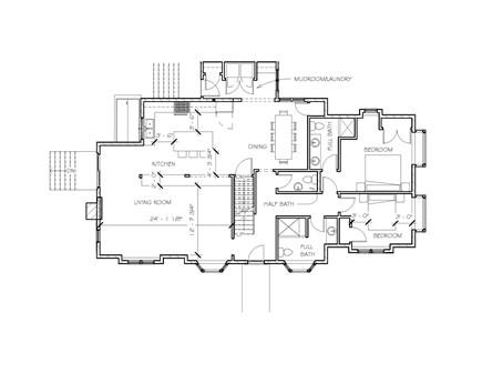 Dennis Village-Mayflower Beach Cape Cod vacation rental - First floor floor plan