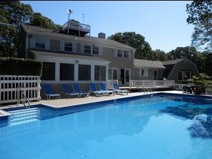Dennis Cape Cod vacation rental - Oversized pool with Gazebo and new deck off  back of the house
