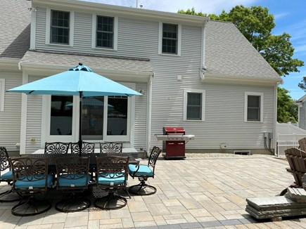 West Yarmouth (Seagull Beach) Cape Cod vacation rental - New 2021 patio with built-in gas fire pit.