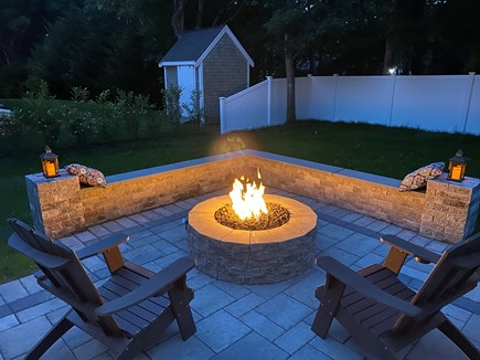 West Yarmouth (Seagull Beach) Cape Cod vacation rental - Gas fire pit with bench off back patio (2021).
