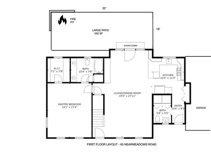 West Yarmouth (Seagull Beach) Cape Cod vacation rental - First floor layout.