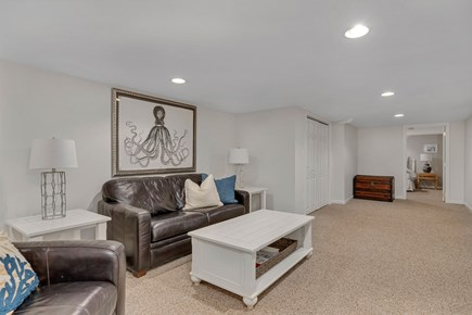 Dennis Cape Cod vacation rental - Basement living area has TV, mini fridge and pull out couch.