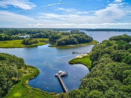 Marstons Mills, Barnstable Cape Cod vacation rental - Aerial view of dock