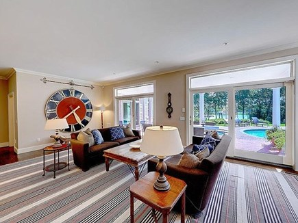 Marstons Mills, Barnstable Cape Cod vacation rental - Great room overlooks pool/patio and waterfront