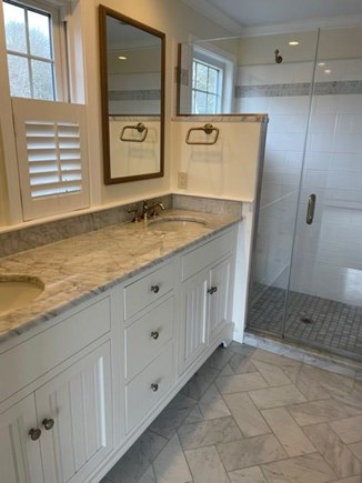 South Chatham Cape Cod vacation rental - Beautiful master bath with double sinks .