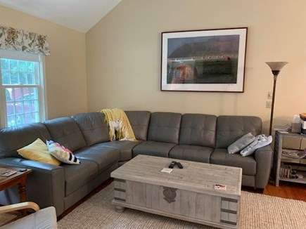 Orleans Cape Cod vacation rental - Living room with comfortable leather sectional.