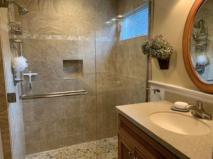Orleans Cape Cod vacation rental - Master bath with accessible glass shower & extra wall shower bar.