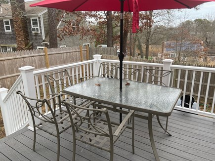 West Yarmouth Cape Cod vacation rental - Deck with eating area and grill
