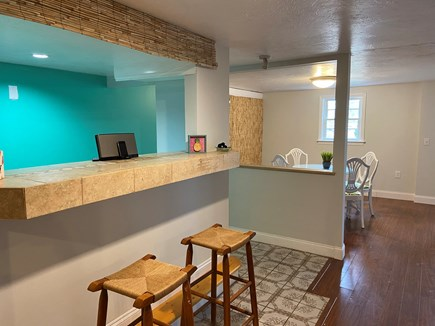 West Yarmouth Cape Cod vacation rental - Finished basement with bar and seating area