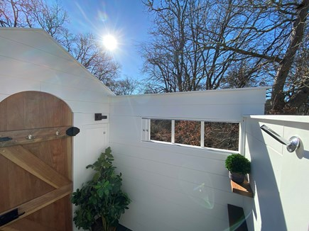 Orleans Cape Cod vacation rental - Custom fully enclosed rainhead outdoor shower w/ nature views