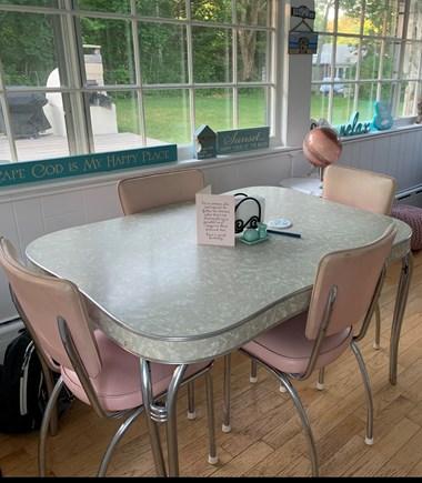 Dennis, Mayflower Beach  Cape Cod vacation rental - Sun room dining