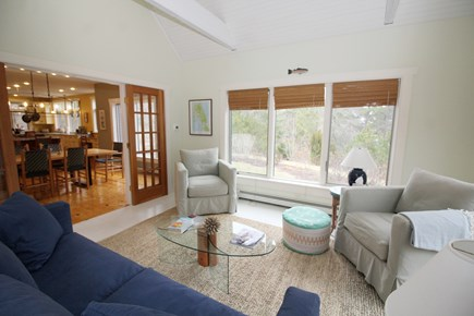 Wellfleet Cape Cod vacation rental - Lovely sun room with queen sleep sofa opens to dining area