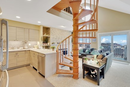 Provincetown Cape Cod vacation rental - Open concept Kitchen/Dining room and Living room with stairway t2