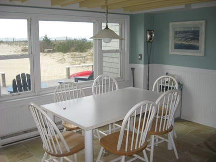 West Dennis Cape Cod vacation rental - Eat in kitchen looks over the back deck
