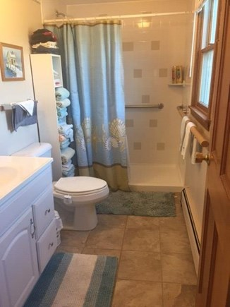 Eastham Cape Cod vacation rental - Downstairs Bathroom. Grab bars in shower.