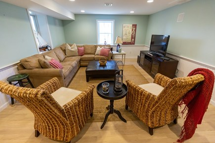 Dennis Village Cape Cod vacation rental - Plenty of room for family movie night in the finished basement.
