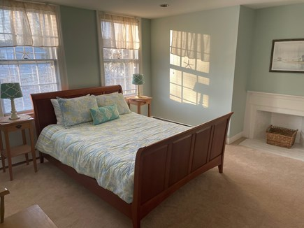Yarmouth Port Cape Cod vacation rental - Blue bedroom with queen bed and full en suite bathroom