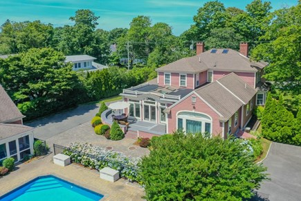 Yarmouth Port Cape Cod vacation rental - Aerial view of backyard area