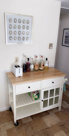 West Dennis Cape Cod vacation rental - New bar cart in kitchen replaced existing stand.