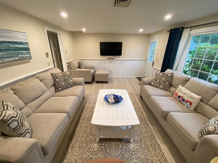 West Dennis Cape Cod vacation rental - Updated living room facing TV.