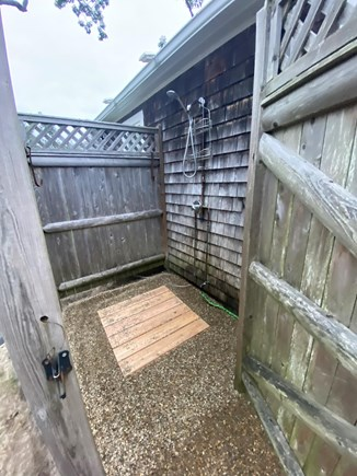 West Dennis Cape Cod vacation rental - Newly remodeled outdoor shower.
