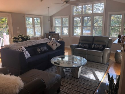 Hyannis, Beach Haven Cottage Cape Cod vacation rental - Living room leads to large deck