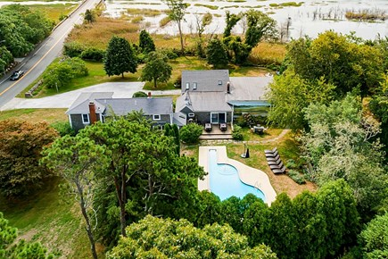 East Dennis Cape Cod vacation rental - Aerial View from the Back of the Property.
