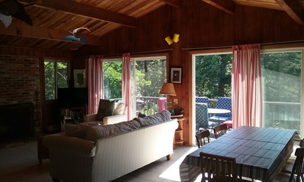 Wellfleet Cape Cod vacation rental - Living-Dining sliders to deck