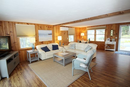 Wellfleet Cape Cod vacation rental - Living room has comfortable seating, flat screen TV & game table