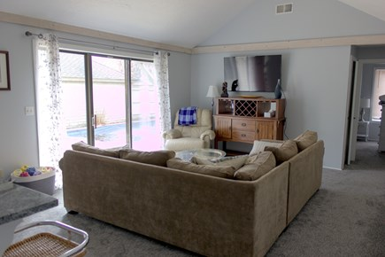 New Seabury Cape Cod vacation rental - Living Room with large screen TV and slider to pool