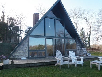 East Orleans Cape Cod vacation rental - A-Frame from crest of pond hill.