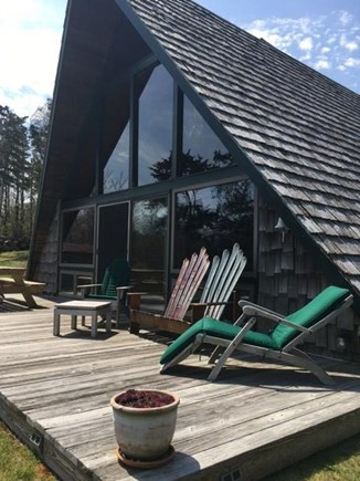 East Orleans Cape Cod vacation rental - A-Frame facade and deck. Facing pond due east.