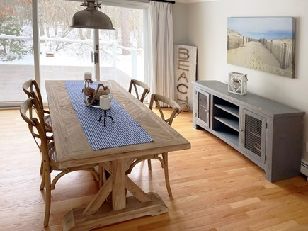 Brewster Cape Cod vacation rental - Dining room with drift wood table seating for 8.