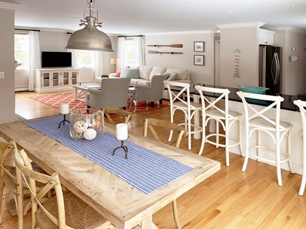 Brewster Cape Cod vacation rental - Open concept- Living room, dining room and kitchen.