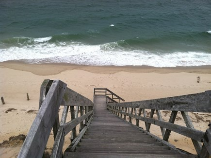 North Truro Cape Cod vacation rental - Stairs to private bayside beach
