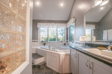 Sandwich Cape Cod vacation rental - Private Master Bath with double vanity, jacuzzi tub & shower