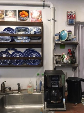 Provincetown Historic District Cape Cod vacation rental - Coffee maker, tea boiler, Blue Willow obsession, miniature art.