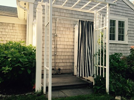 South Yarmouth Cape Cod vacation rental - Heated outdoor shower with a hose to rinse feet after a beach day