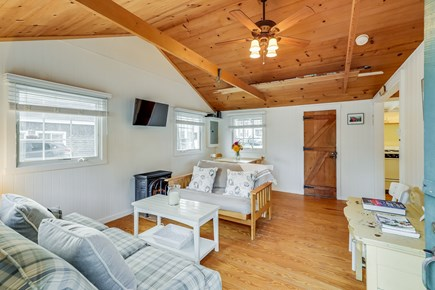 Harwichport Cape Cod vacation rental - Living room - open and airy.  Cottage is about 500 square feet.