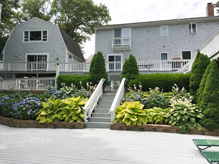 Cotuit- near Loop Beach Cape Cod vacation rental - Back Deck-right is the Big House, and left is the Guest House