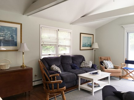 Cotuit- near Loop Beach Cape Cod vacation rental - Family Room- huge w/cathedral ceilings and sliders to decks