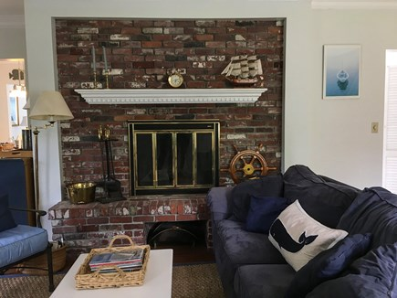 Cotuit- near Loop Beach Cape Cod vacation rental - Living Room-fireplace, televsion and full house internet