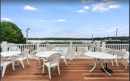 East Falmouth Cape Cod vacation rental - Clubhouse deck overlooking the pool and harbor!